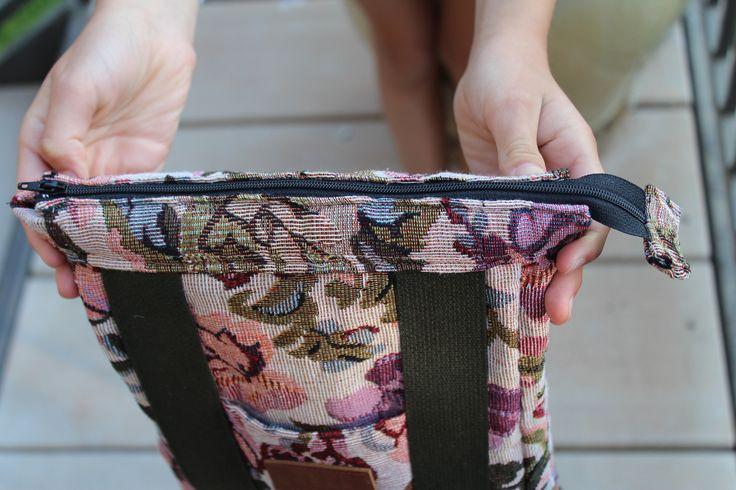 Handmade preschool backpack with zipper closure