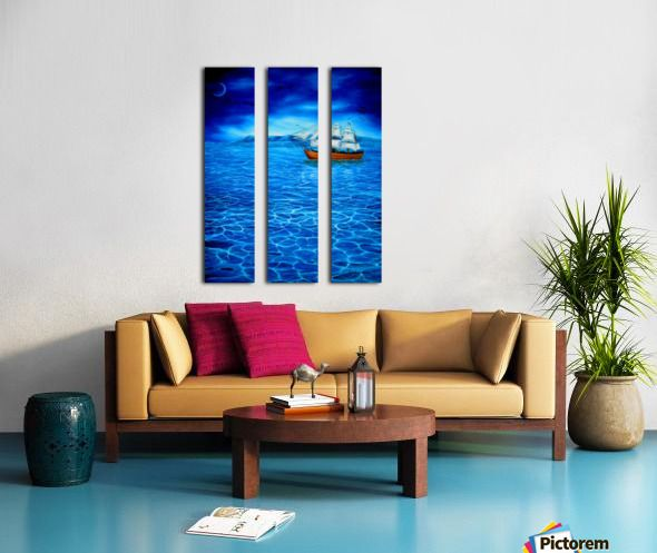 Triptych, sailboat,paintingseascape,nautical,marine,blue,ocean,sea,beautiful,image,contemporary,scenic,modern,wall,art,awesome,cool,artwork,for,sale,home,office,decor,water,wooden,night,dark,moonlight,calm,fine,oil,items,ideas,panels,stretched,split,canvas