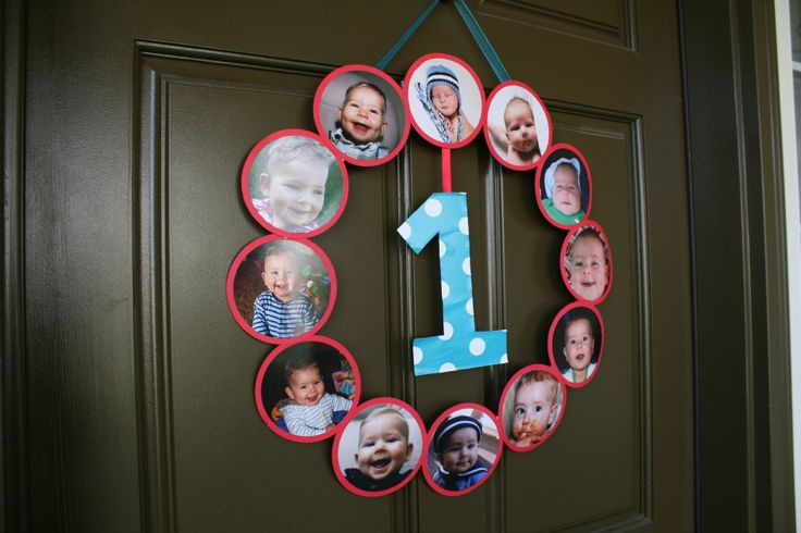 Photo Wreath for 1st Birthday Party