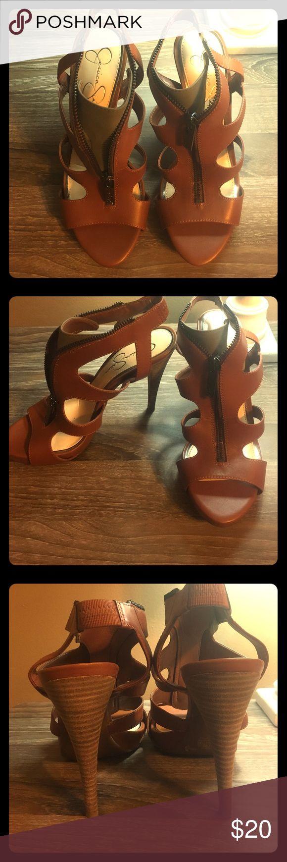 """Jessica Simpson Zip Up Camel  Heels 4 1/2"""" heel Lightly worn, slight wear on tip of heel. Great condition Jessica Simpson Shoes Heels"""