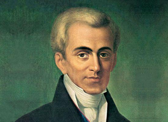 Ιωάννης Καποδίστριας (1776 – 1831): Έλληνας πολιτικός και διπλωμάτης. Διετέλεσε Υπουργός Εξωτερικών της Ρωσίας και πρώτος Κυβερνήτης του ανεξάρτητου Ελληνικού Κράτους, το οποίο ίδρυσε εκ θεμελίων και με την προσωπική του περιουσία.