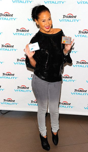 Adrienne Bailon Photos Photos - Musical artist Adrienne Bailon attends the launch of Trident Vitality at Hotel Gansevoort on December 8, 2010 in New York City. - Trident Vitality Gum Launch