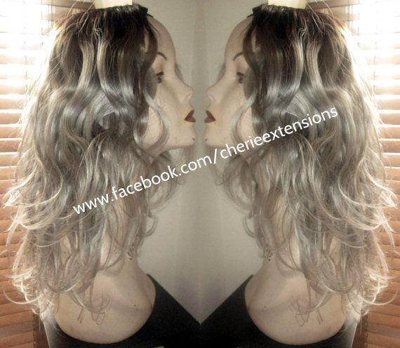 Balayage Dip Dye 8A Remy Human Virgin Brazilian Bodywave Ombre U Part Wig OR Lace Front Virgin U Part Brazilian Wig 1b Off Black Grey #greyhair #grayhair #greyombre #grayombre #greywig #customunit  BUY HERE: https://www.etsy.com/uk/listing/251719869/balayage-dip-dye-8a-remy-human-virgin