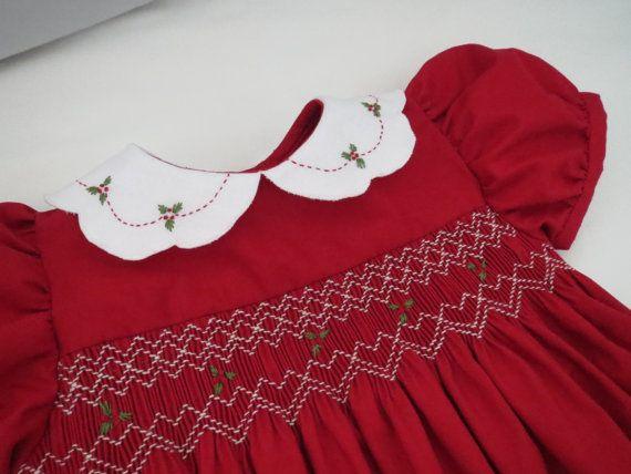 Smocked Yoke Dress with Embroidered Collar - Christmas