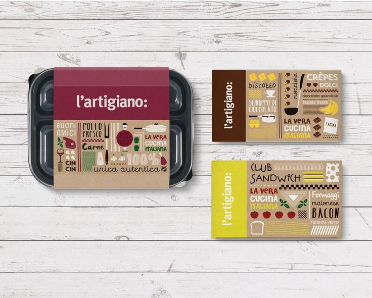 L' Artigiano italian food delivery chain rebranding by @2yolk #illustration #pizza #pizzabox #Package #Design #Italy  #doodles #food #packaging