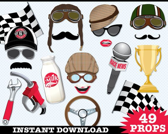 Race Car Photo Booth Props Cars Birthday Party by SimplyEverydayMe