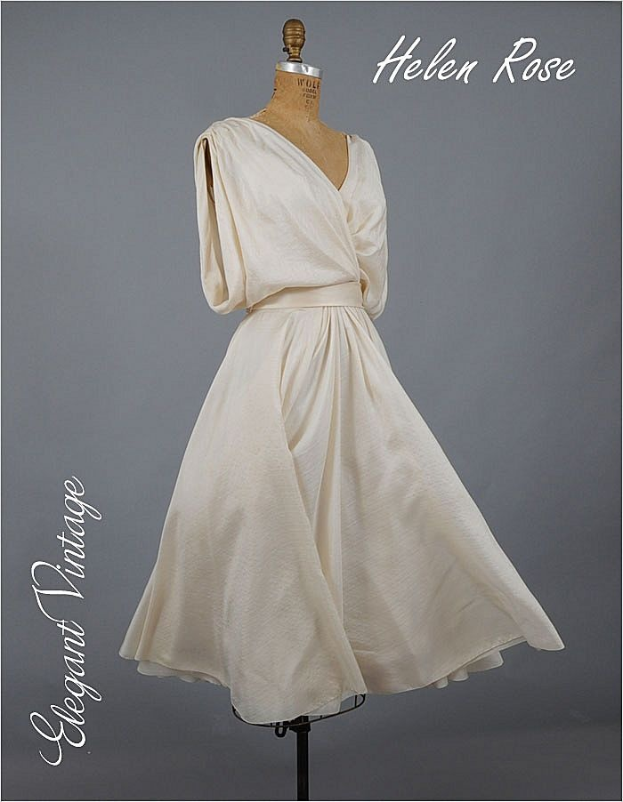 50s 60 39 s helen rose silk goddess dress neiman marcus for Antique rose wedding dress