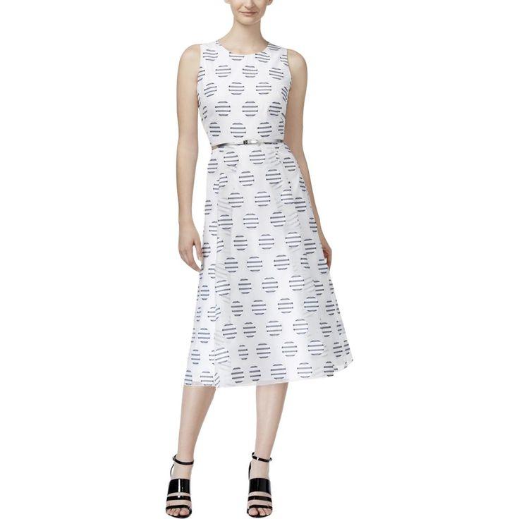 Calvin Klein Womens Polka Dot Pleated Wear to Work Dress
