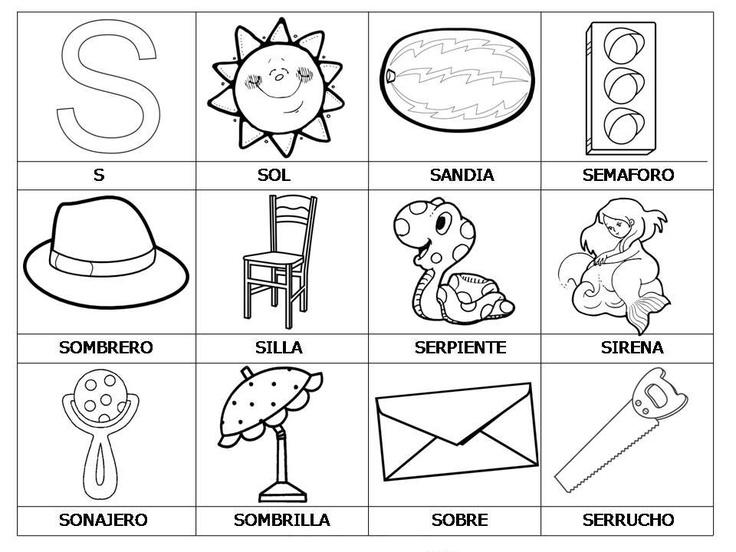 Free Laminas Con Dibujos Para Aprender Palabras Y Colorear