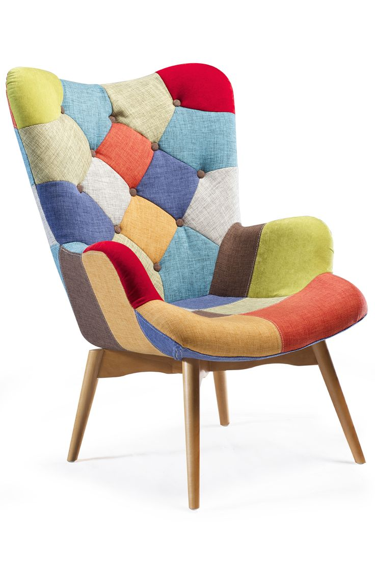 PATCH Lounge Chair in multi color and ash legs