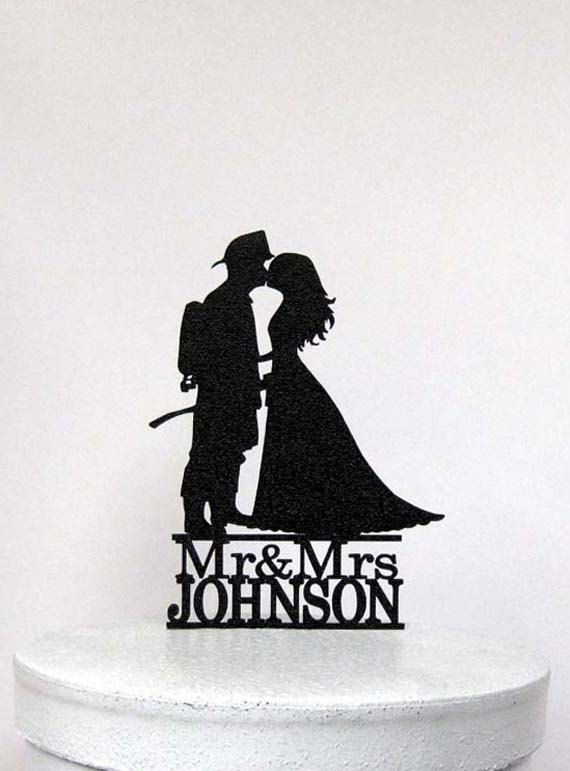 Custom Wedding Cake Topper  Fireman and Bride by Plasticsmith