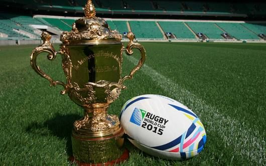 #rugbyworldcup the beautiful trophy with pretty ball