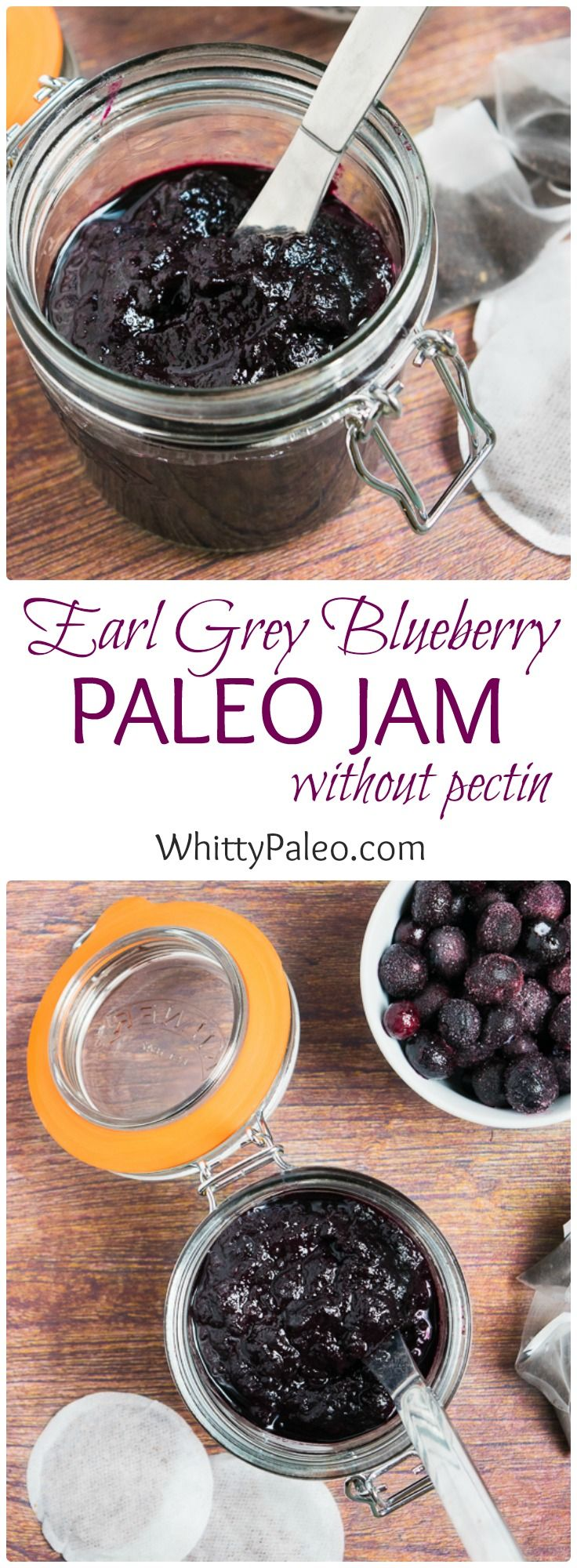 Homemade Earl Grey Blueberry Paleo Jam without pectin! This jam uses frozen blueberries and brewed earl grey tea for a sweet infusion!