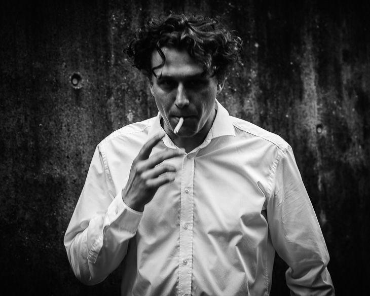 portrait, male portrait, vanderman, smoking man, black and white