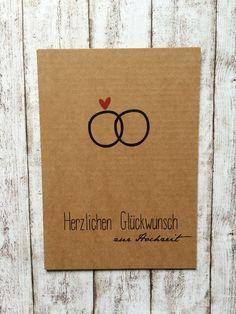 """Postkarte Glückwunsch zur Hochzeit """"Ring"""" von Kartenliebe Hamburg auf DaWanda.com"""