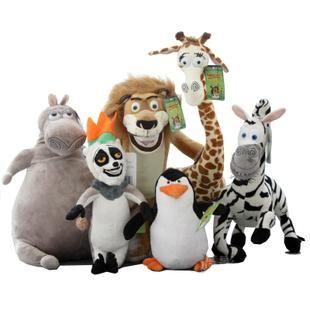Vente en gros de douce peluche madagascar penguins lion zebra giraffe hippo peluche doll véritable haute qualité