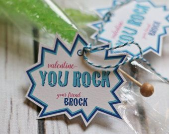 You Rock Valentine with Rock candy (Pop Rocks or chocolate pebbles would work, too)