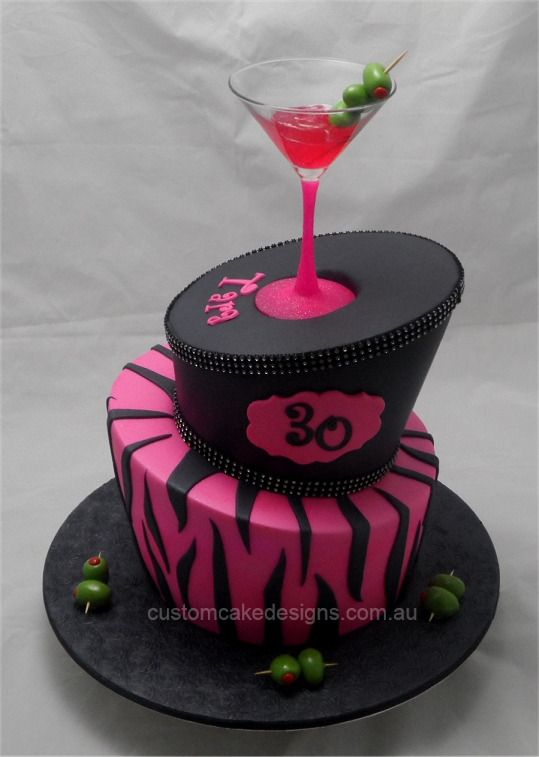 Cocktail Cake - I'm not a pink and black person but the design is cute & original