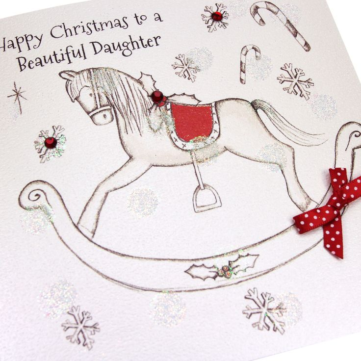 Handmade Christmas Card Cute Rocking Horse Glittered Embossed Red Gems Polka Dot Bow - 'Happy Christmas to a Beautiful Daughter'