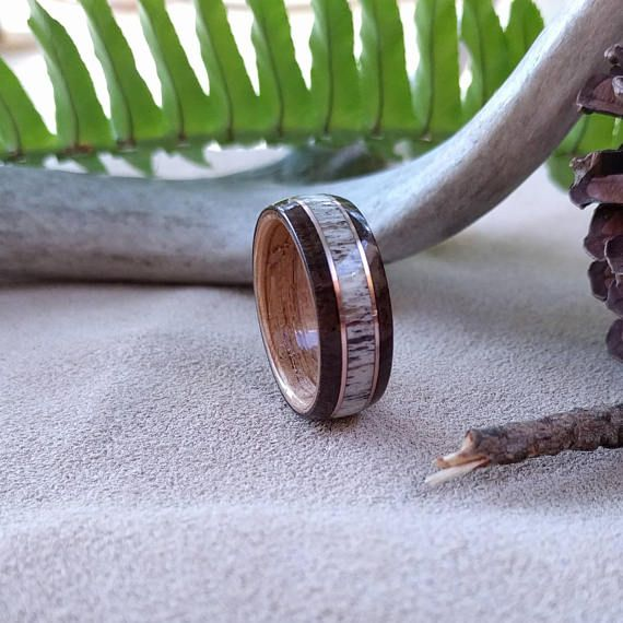 Elk Antler Wedding band -  East Indian Rosewood Bentwood ring Men's wedding ring Mens Wood ring men's engagement ring women anniversary