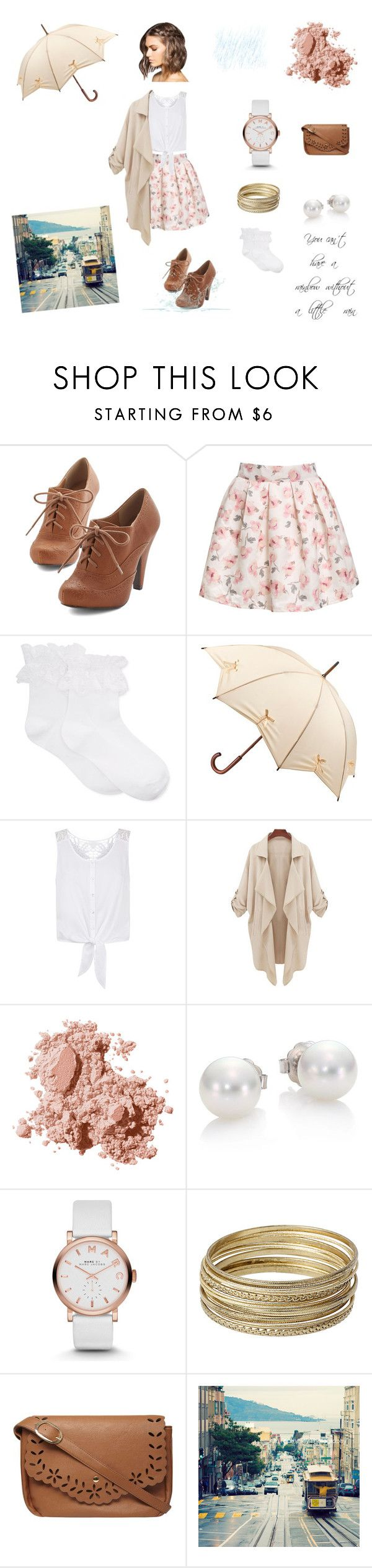 """Cute outfit for a rainy summer day"" by canthelpit ❤ liked on Polyvore featuring Hue, Fulton, Monsoon, Bobbi Brown Cosmetics, Mikimoto, Marc by Marc Jacobs, Steve Madden and Dorothy Perkins"