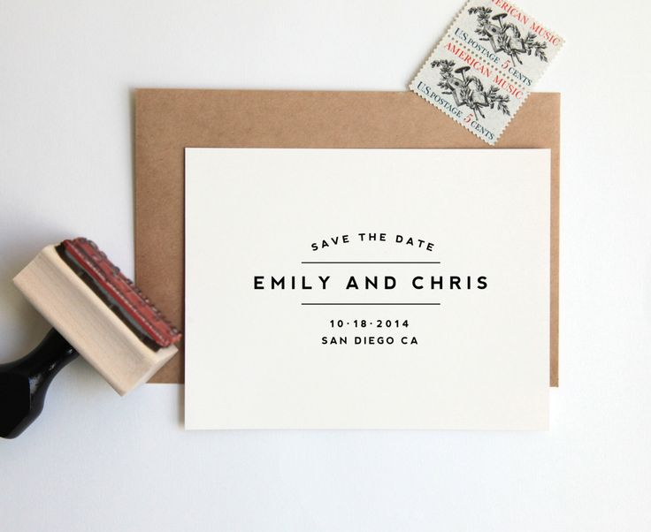 NEW! Save the Date Stamp, Custom Wedding Rubber Stamp (Wood Mounted) Large Minimalist Modern Design Personalized with Names, Date + Location by HunterandCoDesigns on Etsy https://www.etsy.com/listing/181364721/new-save-the-date-stamp-custom-wedding