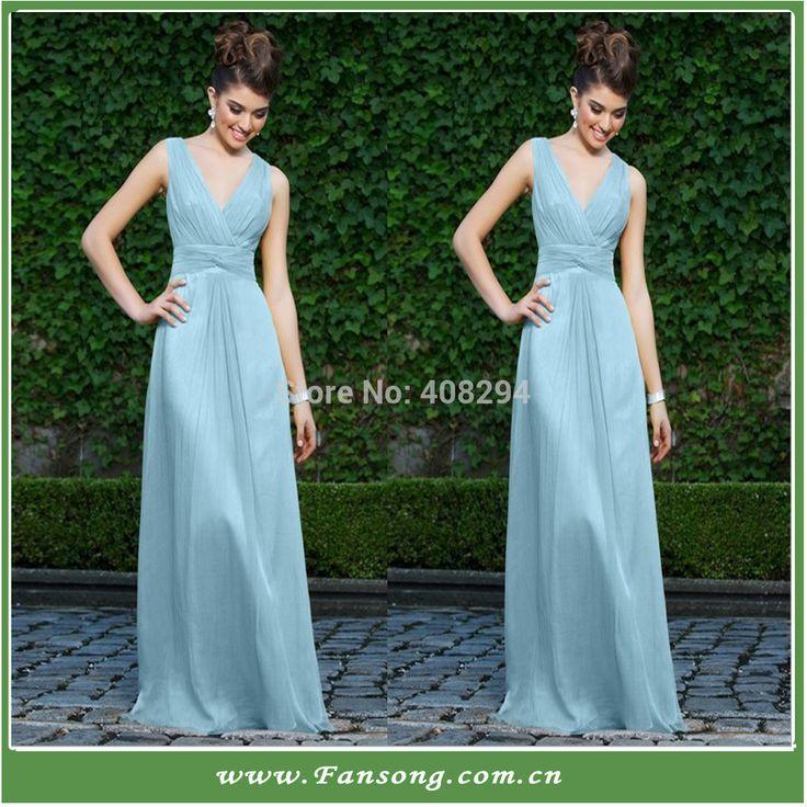 FS-20140421 Floor-length Cap-sleeve V-neck A-line Empire Waist Chiffon Ice Blue Wedding Dress