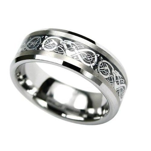 Tungsten carbide flat comfort fit men celtic dragon black for Tungsten celtic wedding ring