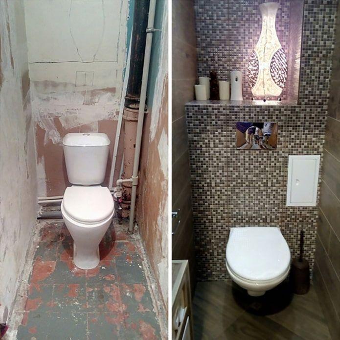 Туалет в хрущевке: 40 фото + 6 примеров ремонта до и после ...
