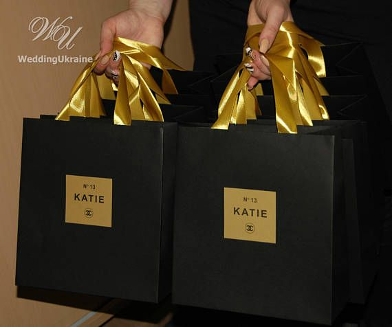 Black & Gold Chanel Theme Birthday Gift Bags with satin ribbon and custom tag - Chanel party favors for guests - Elegant paper welcome bags