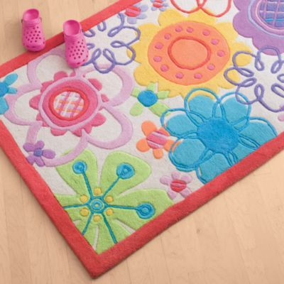 Colorful Floral Rug. Colorful Flowers Rug For Girls Bedroom Decor
