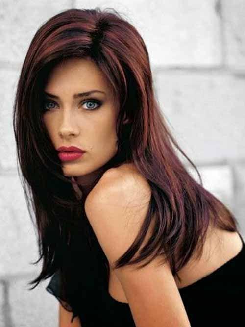 chocolate, cinnamon and caramel chunky highlights in a shag cut | Dark mahogany hair color.