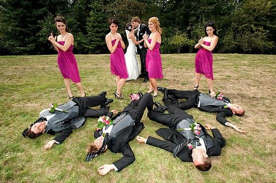 20 Creative Wedding Poses for Bridal Party. Some I've seen, but a lot of them are really cute.