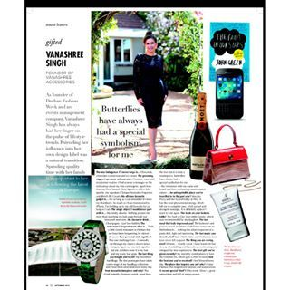 #Butterflies ... Gifted....Must-haves....featured in this months issue of  #Wanted Magazine in #Business Day. Thank you Business Day Wanted Magazine #bdlive  #gifted  #must-haves #VanaShree #exoticelegance
