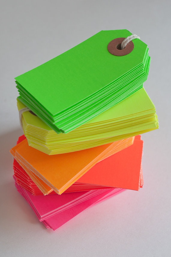 A stack of neon tags...