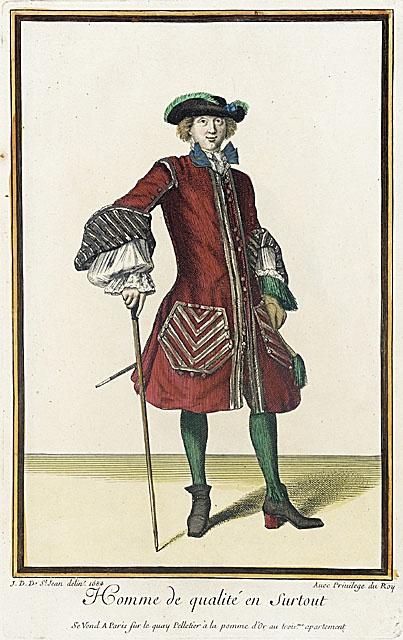 Jean-Dieu de Saint-Jean (1675 prospéré - prospéré 1695) Recueil des modes de la cour de France, «Homme de Qualité en Surtout», 1684