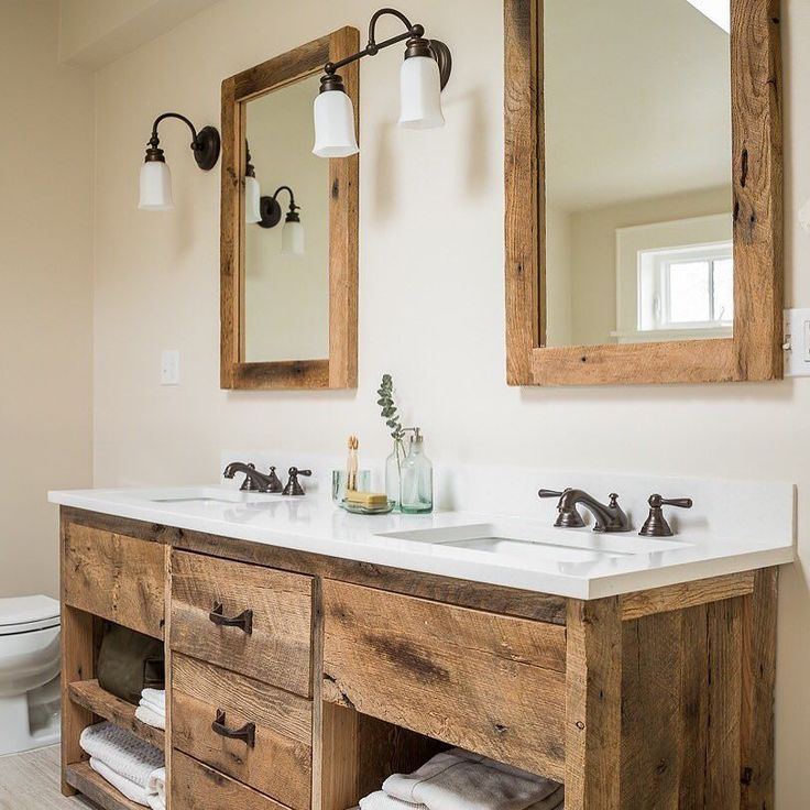 Love this wood vanity and mirrors with the white countertop!!