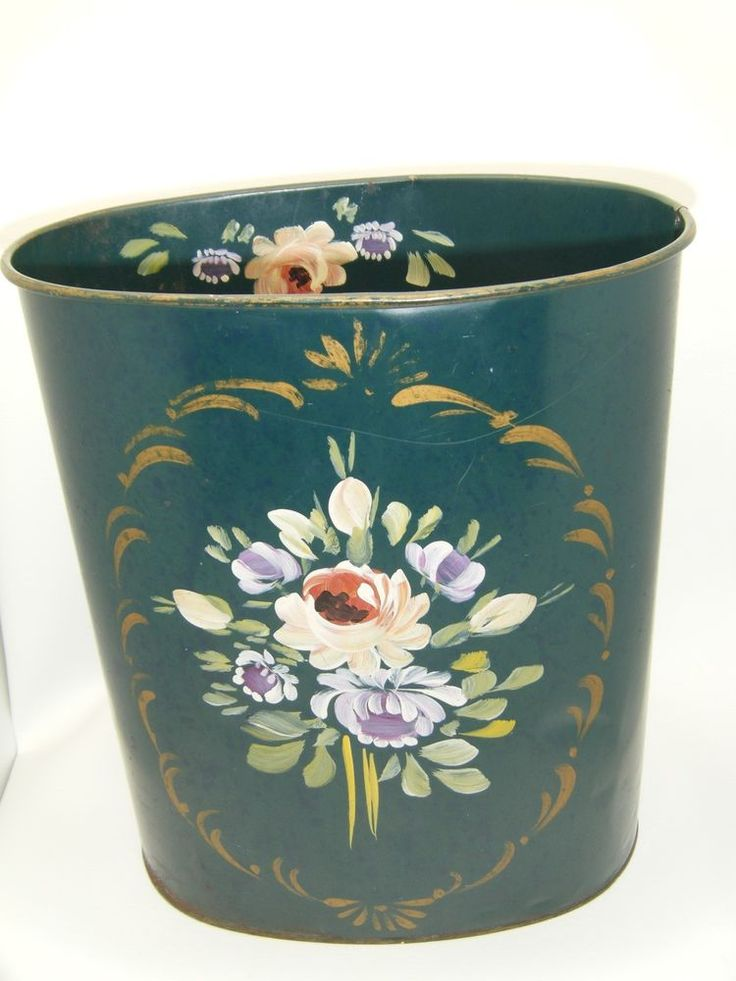 Vintage Teal Green Toleware Tole Painted Metal Trash Can