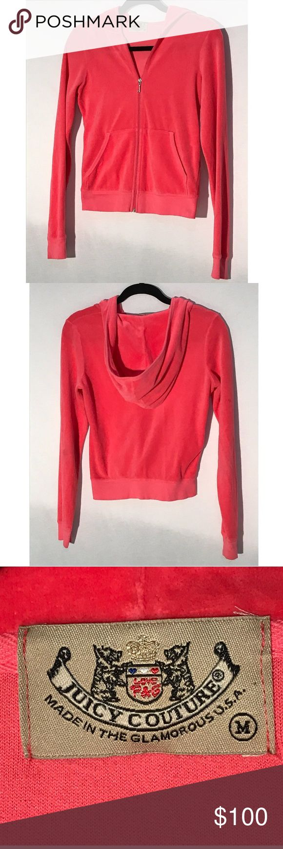 Hot Pink J Bling Velour Juicy Couture Jacket Near perfect condition, hot pink J Bling Velour Juicy Couture track suit jacket. Very soft, velour material. Says Medium, fits like a small. Color is more true to pictures than to website picture. Juicy Couture Tops Sweatshirts & Hoodies