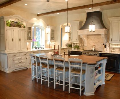 Fieldstone Lasalle Maple Ivory Cream Custom Kitchen Cabinets Wood Top Center Island Debbie