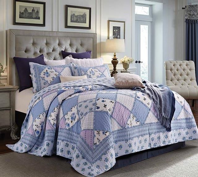 Country BLUES Beautiful Patchwork Printed Quilt Set QUEEN Floral Lavendar Shabby #VirahBella #Cottage