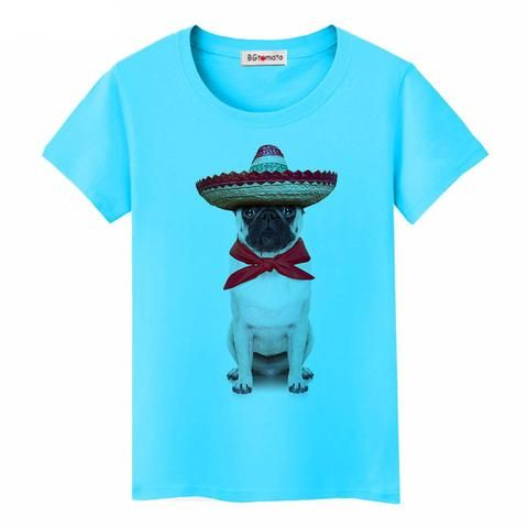 Pug In Sombrero T-Shirt Ror Women (4 colors)