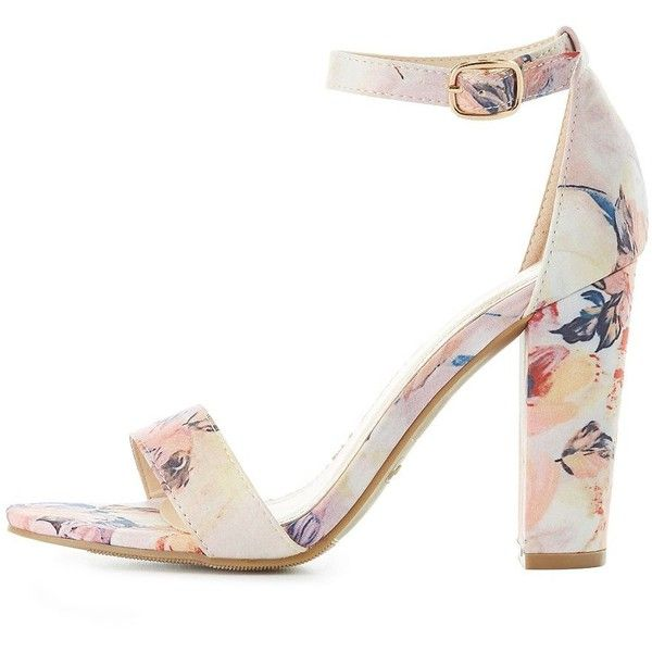 Bamboo Floral Two-Piece Sandals ($25) ❤ liked on Polyvore featuring shoes, sandals, blush, ankle strap heel sandals, thick heel sandals, strap sandals, braided sandals and strappy sandals