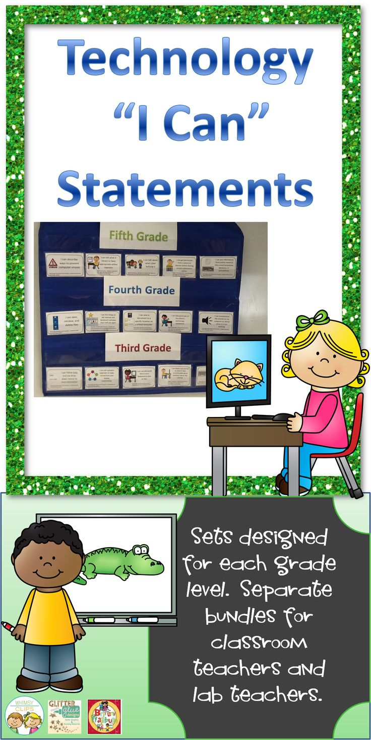 I Can Statements for the Technology Standards. Sets for the classroom teacher and the computer lab teacher. $