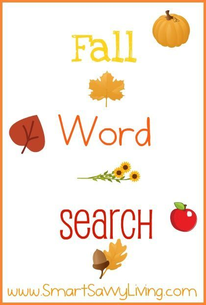 Free Printable Fall Word Search; Autumn Word Search - Smart Savvy Living