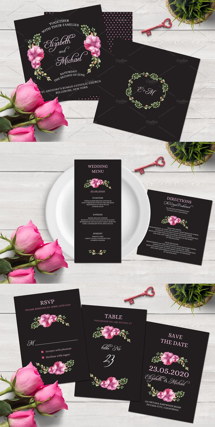 free wedding invitation psd%0A Watercolor Wedding Invitation Set Templates PSD