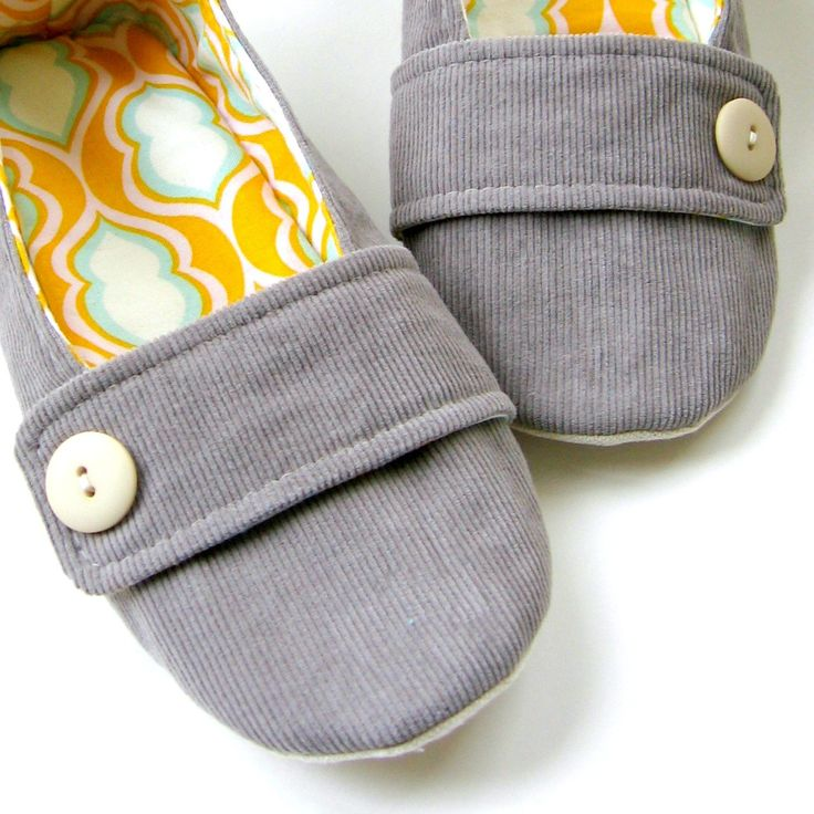 Women's Slippers Grey Corduroy Tangerine Yellow and by Molipop