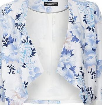 Dorothy Perkins Womens Blue Floral Waterfal Jacket- Blue Blue floral printed edge to edge waterfall jacket wearing length 56cm. 93% Polyester,7% Elastane. Machine washable. http://www.comparestoreprices.co.uk/womens-clothes/dorothy-perkins-womens-blue-floral-waterfal-jacket-blue.asp