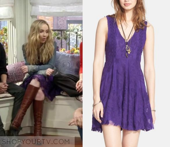 "Maya Hart (Sabrina Carpenter) wears this deep purple lace v neck dress in this episode of Girl Meets World, ""Girl Meets Jexica"". [...]"
