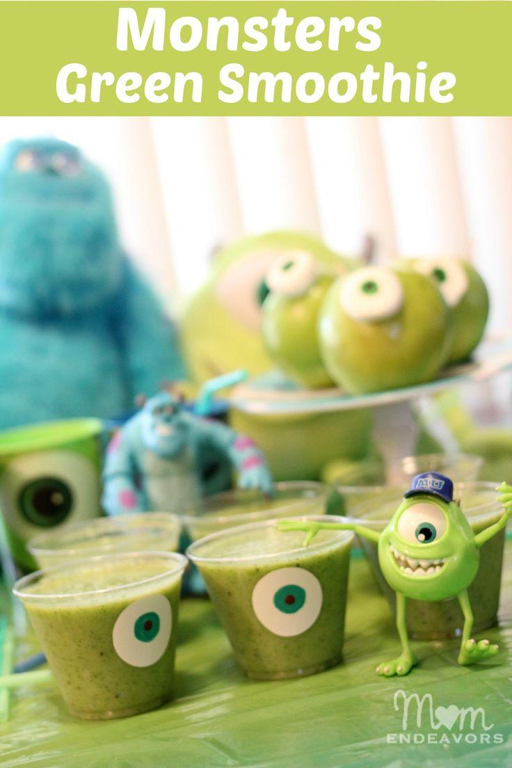 Mike Wazowski Monster inc. drinks.  Transparate bekers, Karton blauw/wit, Zwarte stift, Groene smoothie/limonade enz. Werkwijze: Maak oogjes van blauw & wit karton en teken met zwarte stift pupillen. Plak de oogjes op de bekers en vul ze met groene smoothie of groene limonade.